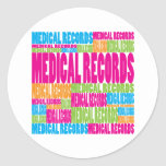 Colourful Medical Records Round Stickers