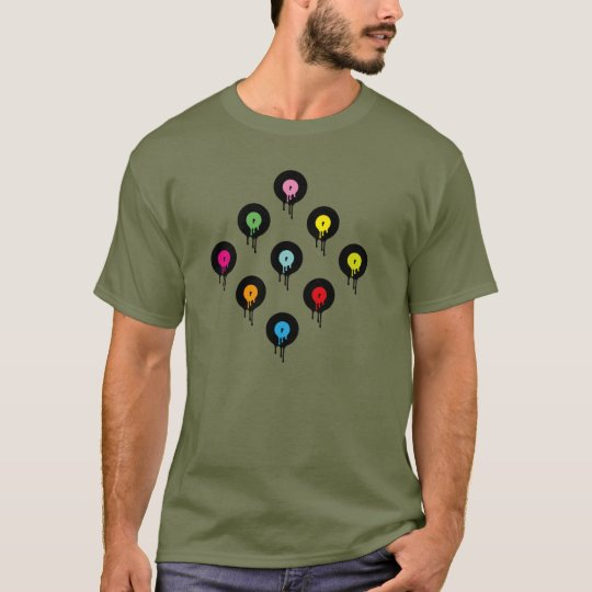 Colourful Melting Vinyl Record Dot Pattern T-Shirt
