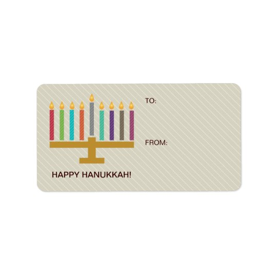 Colourful Menorah Hanukkah Gift Address Label
