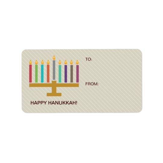Colourful Menorah Hanukkah Gift Label