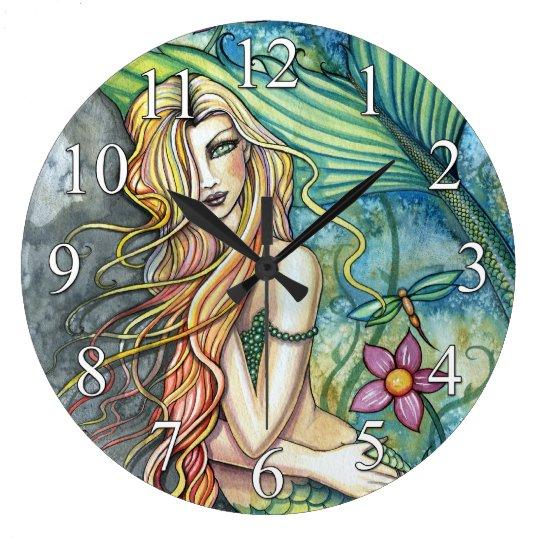 Colourful Mermaid Fantasy Art Clock