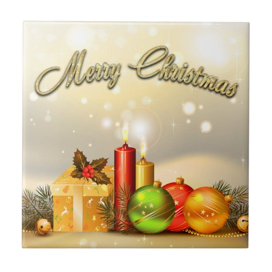Colourful Merry Christmas Candle Decorations Small Square Tile