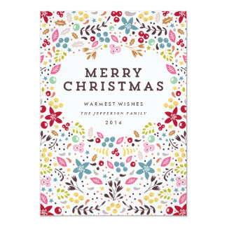 Colourful Merry Christmas Floral Card