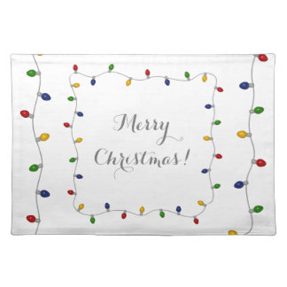 Colourful Merry Christmas Lights Place Mats