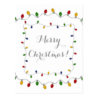 Colourful Merry Christmas Lights Postcard