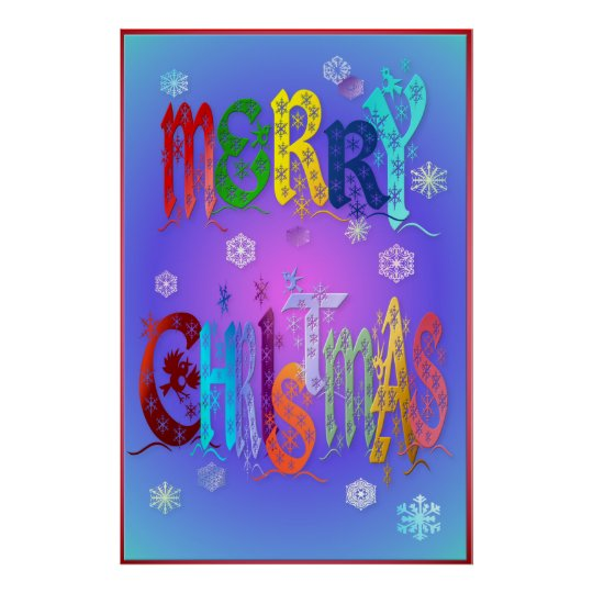 Colourful Merry Christmas Poster-large Poster