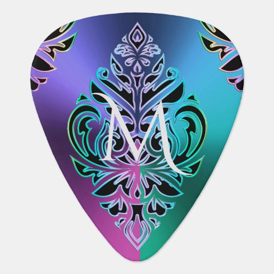 Colourful Metallic Damask Tribal Modern Guitar Pick