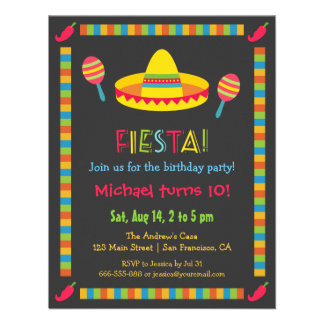 Colourful Mexican Fiesta Kids Birthday Party Custom Invite