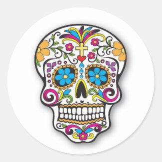 Colourful Mexican Sugar Skull Day of the Dead Classic Round Sticker