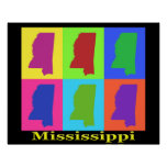 Colourful Mississippi State Pop Art Map Poster