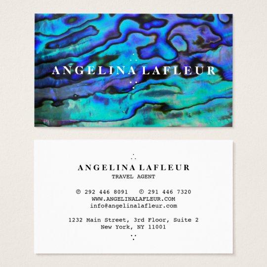 Colourful modern blue abalone sea shell plain business