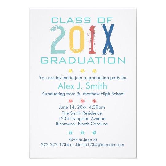 Colourful Modern Graduation Party Invitation