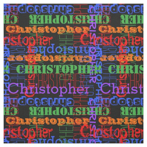 Colourful Modern Name Collage Rainbow Black Fabric