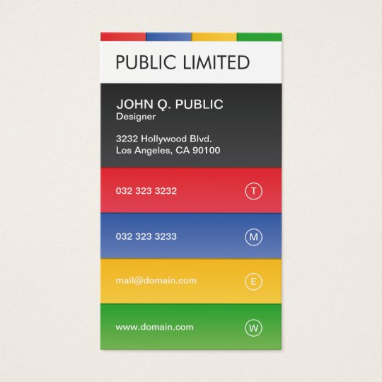 Colourful Modern Professional Corporate Business Card