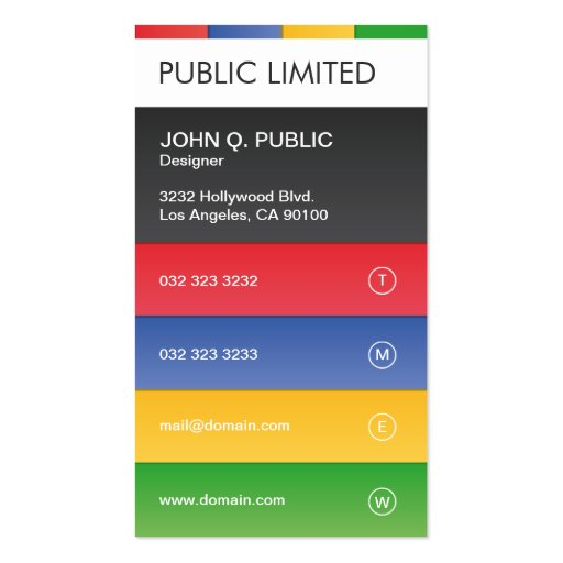 Colourful Modern Professional Corporate Pack Of Standard Business Cards