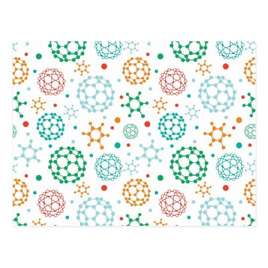 Colourful molecules pattern postcard
