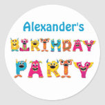 Colourful Monsters Birthday Party Round Sticker