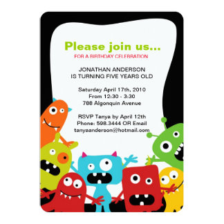 Colourful Monsters Boys Birthday Party Invitation