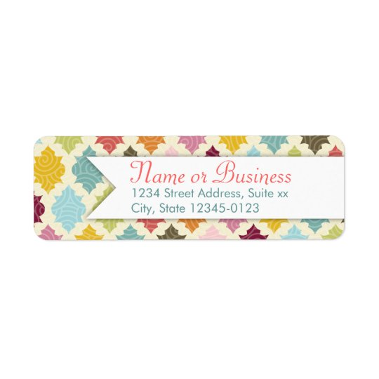 Colourful Moroccan Quatrefoil Custom Address Return Address Label