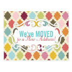 Colourful Moroccan Quatrefoil Moving / Moved Cards