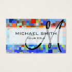 Colourful Mosaic Custom Monogram Business Card