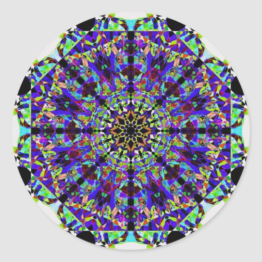 Colourful Mosaïc Mandala Classic Round Sticker