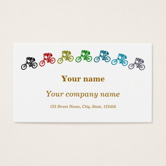 Colourful mountainbikes business card