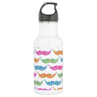 colourful moustache circles pattern image 532 ml water bottle