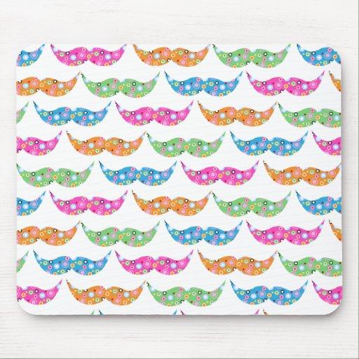 colourful moustache circles pattern image mousepad