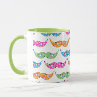 colourful moustache circles pattern image mug