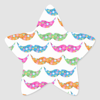 colourful moustache circles pattern image star sticker