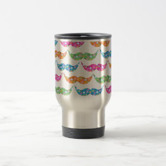 colourful moustache circles pattern image travel mug