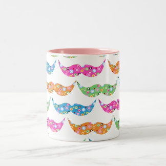 colourful moustache circles pattern image Two-Tone coffee mug