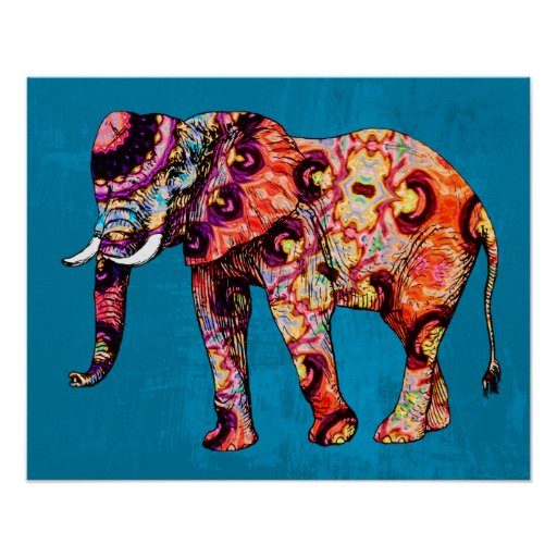 Colourful Multicolored Elephant on Blue Background Poster