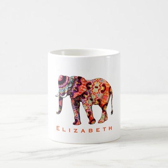 Colourful Multicolored Patterned Elephant Coffee Mug
