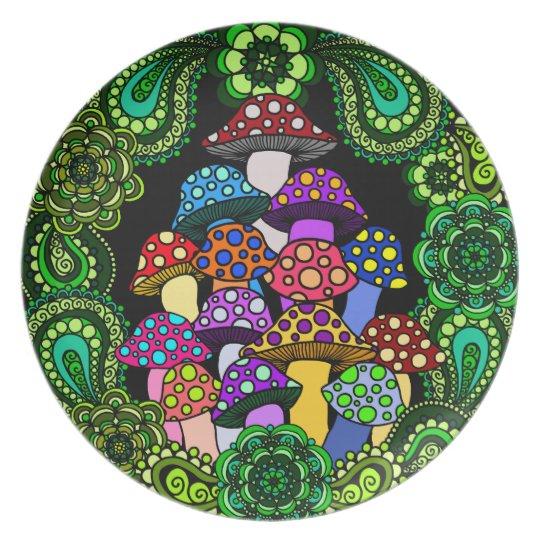 Colourful Mushrooms Decorative Plate