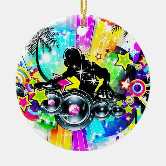Colourful Music DJ Round Ceramic Decoration