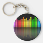 Colourful Music Equalizer w/Reflection, Cool Basic Round Button Key Ring