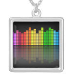 Colourful Music Equalizer w/Reflection, Cool Square Pendant Necklace