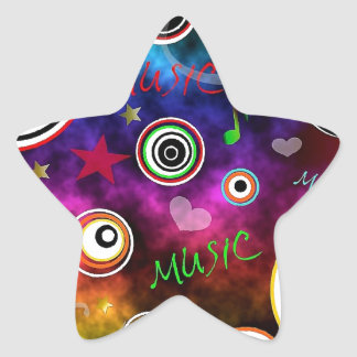 Colourful Music Illustration Star Sticker