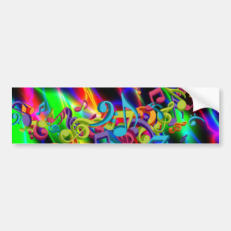 colourful music notes neon bright background bumper sticker