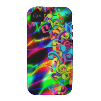 colourful music notes neon bright background Case-Mate iPhone 4 cases