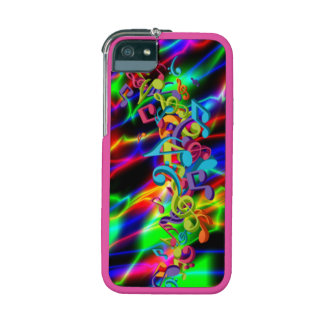 colourful music notes neon bright background iPhone 5/5S cover