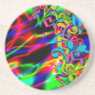 colourful music notes neon bright background coaster