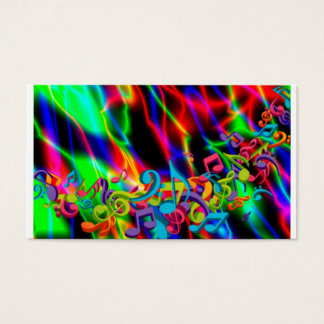 colourful music notes neon bright background color business card
