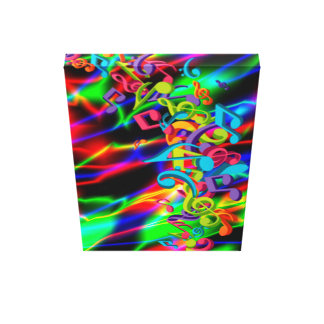 colourful music notes neon bright background color canvas print