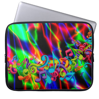 colourful music notes neon bright background color laptop sleeve