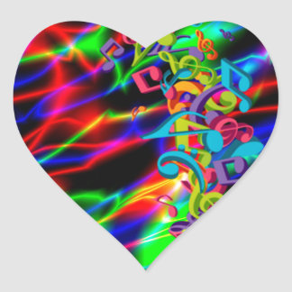 colourful music notes neon bright background heart sticker