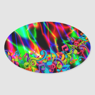 colourful music notes neon bright background oval sticker