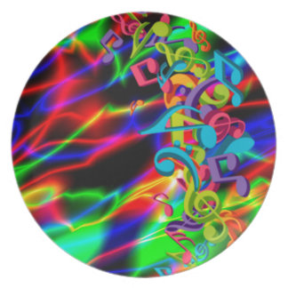 colourful music notes neon bright background plate